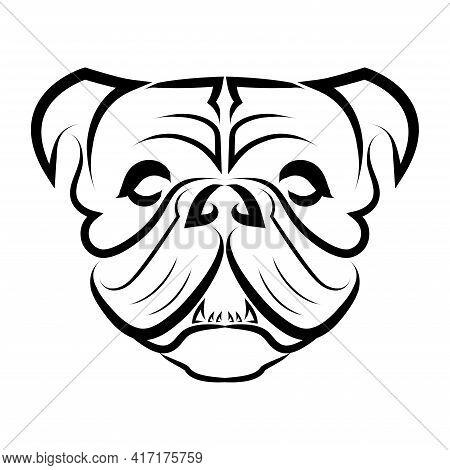 Black And White Line Art Of Bulldog Or Pug Dog Head. Good Use For Symbol, Mascot, Icon, Avatar, Tatt
