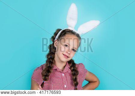 Happy Teen Girl Wear Bunny Ears. Happy Easter. Childhood Happiness. Child In Rabbit Costume.