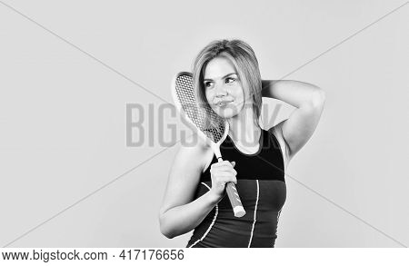 Smiling Athletic Girl Hold Tennis Racket. In Pursuit Of Good Health. Girl Tennis Player. Sport Compe