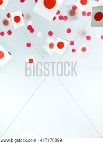 Japan, February 11. The Foundation Of The State, The Nation. National Flags On A Foggy Background, T