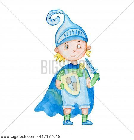 The Brave Knight Cartoon Character Child Isolated On White