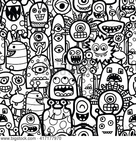 Funny Monsters And Aliens Seamless Vector Pattern For Coloring Book. Black And White Kids Repeating
