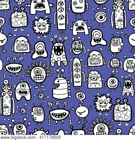 Seamless Pattern With Funny Monsters And Aliens Cartoon Style. Childrens Repeating Vector Background