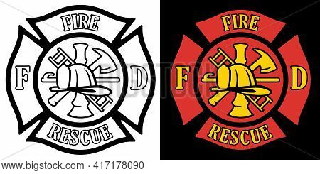 Firefighter Rescue Maltese Florian Cross In Both Black Line Art And Red And Gold Color Isolated Vect