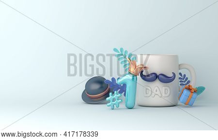 Happy Father's Day Decoration Background With Mug Cup, Hat, Gift Box, Copy Space Text, 3d Rendering