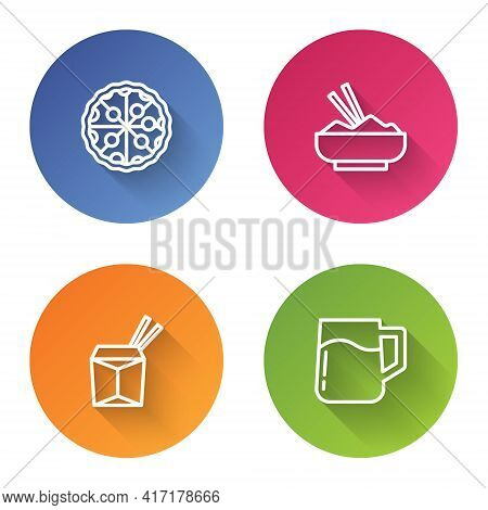 Set Line Pizza, Rice In Bowl With Chopstick, Asian Noodles And Chopsticks And Wooden Beer Mug. Color