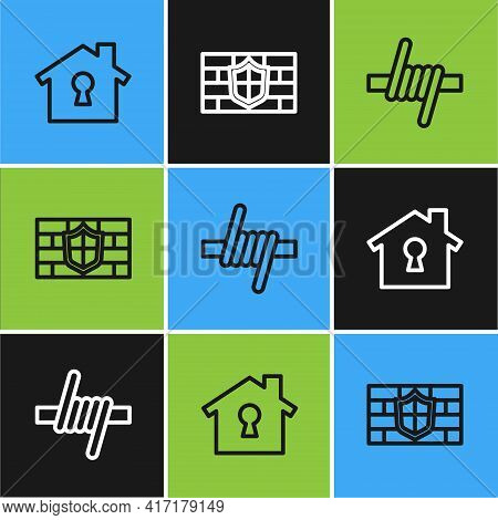 Set Line House Under Protection, Barbed Wire And Shield With Brick Wall Icon. Vector