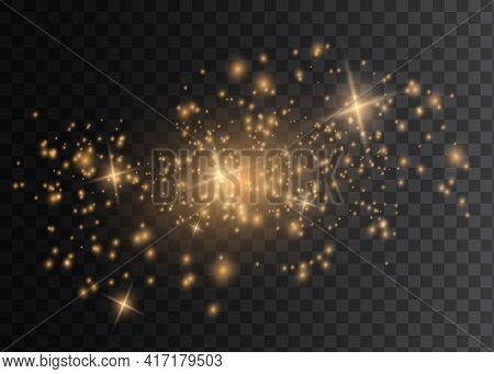 The Dust Is Yellow. Yellow Sparks And Golden Stars Shine With Special Light. Vector Sparkles On A Tr