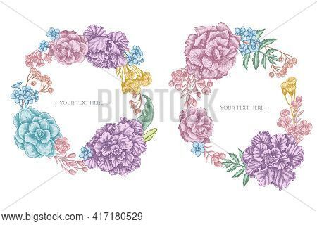 Floral Wreath Of Pastel Wax Flower, Forget Me Not Flower, Tansy, Ardisia, Brassica, Decorative Cabba