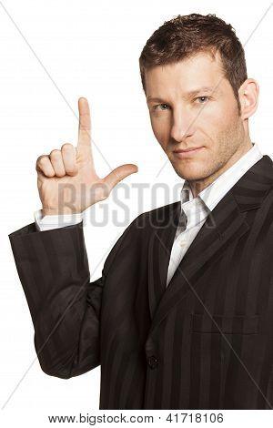 Businessman Points Up