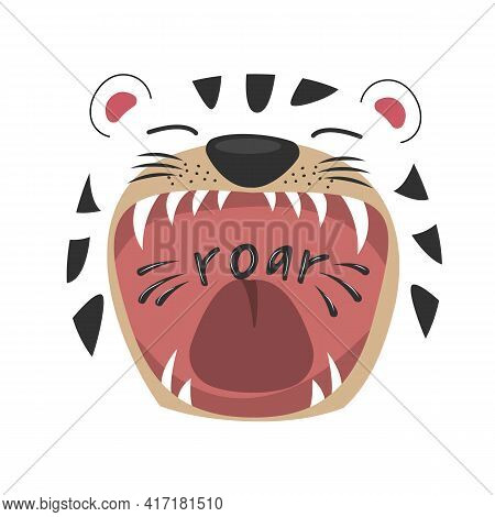 Cute Cartoon Tiger With Open Mouth Roaring.