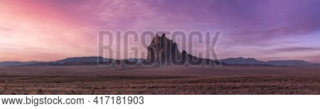 Panoramic American Nature Landscape View Of The Dry Desert And Rugged Rocky Mountains. Colorful Sunr