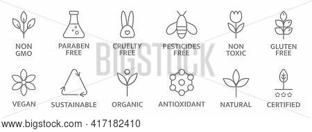 Natural And Organic Cosmetic Line Icons. Allergen Free Badges. Non Toxic Logo. Skincare Symbol. Beau