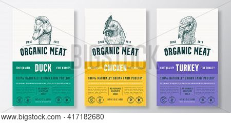 Organic Meat Abstract Vector Packaging Design Or Label Templates Set. Farm Grown Poultry Banners. Mo