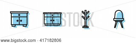 Set Line Coat Stand, Furniture Nightstand, And Chair Icon. Vector