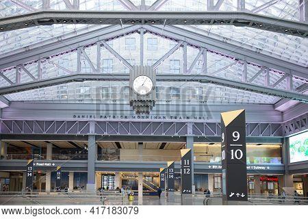 New York City - April 8 2021: Interior Of The Moynihan Train Hall At Pennsylvania Train Station In M