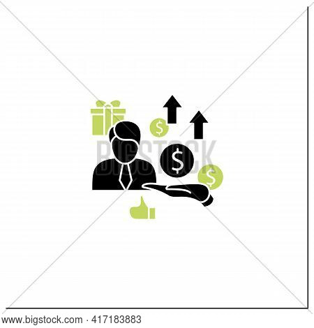 New Investors Glyph Icon. Creating New Investors Generation. High Quality Worker. Profitable Busines