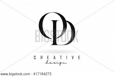 Od O D Letter Design Logo Logotype Concept With Serif Font And Elegant Style. Vector Illustration Ic