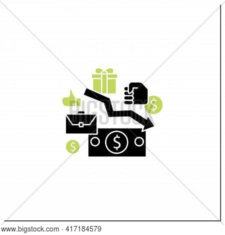 Low Wages Glyph Icon. Important Problem. Discouraging Low Wages. Less Money.universal Basic Income C