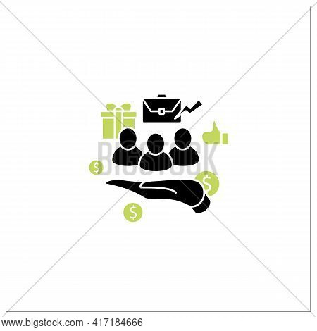 Supporting Workers Glyph Icon. Supporting Unpaid Care Workers. Caring About Employees. Universal Bas