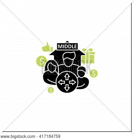Dilative Class Glyph Icon. Expanding Middle Class. Rise In Living Standards. Increase Employee Numbe