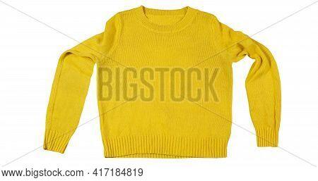 Yellow Sweater Shirt Blouse, Yellow Fleece Sweatshirt Isolated Over White, Blank Yellow Sweater Mock