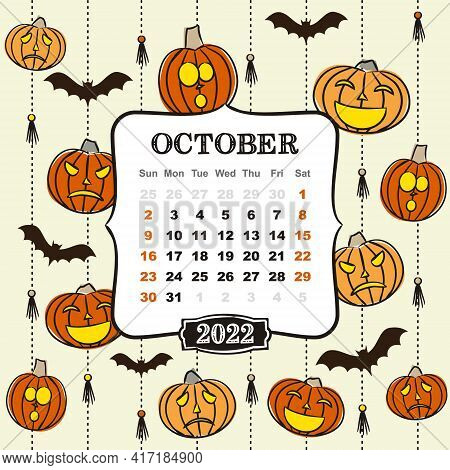 Thematic Template For A Calendar For 2022. Month Of October. Design For The Calendar On The Theme Of
