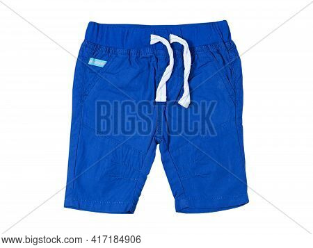 Male Baby Shorts Close Up Isolated On The White Background, Blue Pair Of Shorts Isolated On White