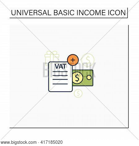 Value Added Tax Color Icon.indirect Tax, Goods Price. Paid By Buyer. Universal Basic Income Concept.