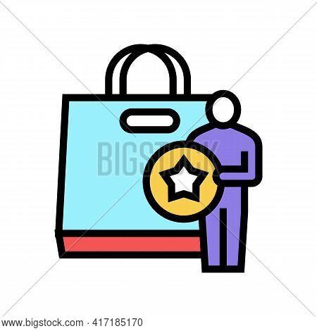Buyer Getting Bonus Bag Color Icon Vector. Buyer Getting Bonus Bag Sign. Isolated Symbol Illustratio