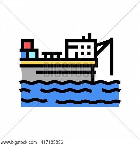 Ship Crane Equipment Color Icon Vector. Ship Crane Equipment Sign. Isolated Symbol Illustration
