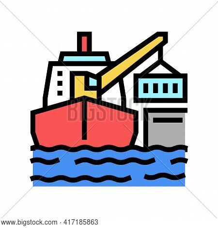 Ship Crane Color Icon Vector. Ship Crane Sign. Isolated Symbol Illustration