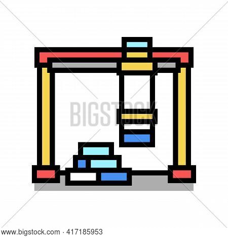 Loader Crane Port Color Icon Vector. Loader Crane Port Sign. Isolated Symbol Illustration