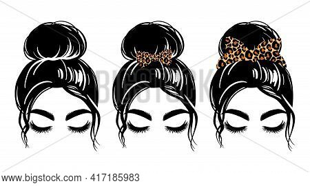 Messy Bun With Leopard Bandana Or Headwrap And Hair Bow. Vector Woman Silhouette. Beautiful Girl Dra