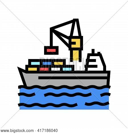 Containers Loading On Ship In Port Color Icon Vector. Containers Loading On Ship In Port Sign. Isola