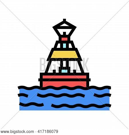 Buoy Port Color Icon Vector. Buoy Port Sign. Isolated Symbol Illustration