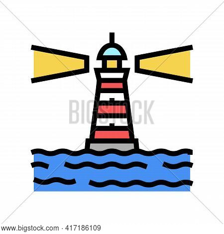 Lighthouse Port Color Icon Vector. Lighthouse Port Sign. Isolated Symbol Illustration