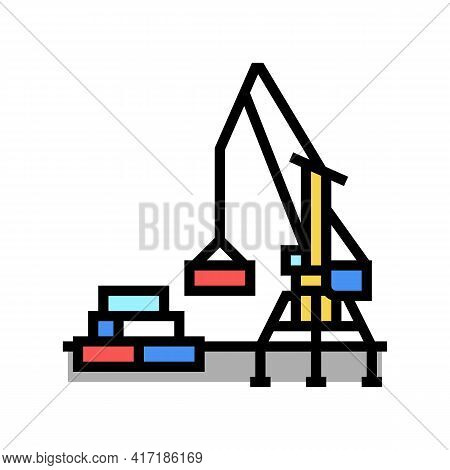 Container Loader Port Equipment Color Icon Vector. Container Loader Port Equipment Sign. Isolated Sy
