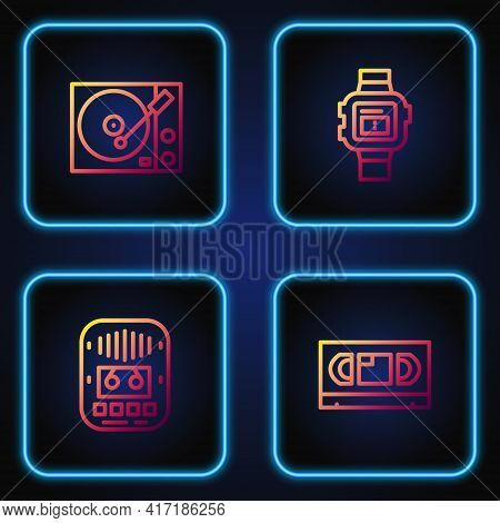 Set Line Vhs Video Cassette Tape, Cassette Player, Vinyl And Wrist Watch. Gradient Color Icons. Vect