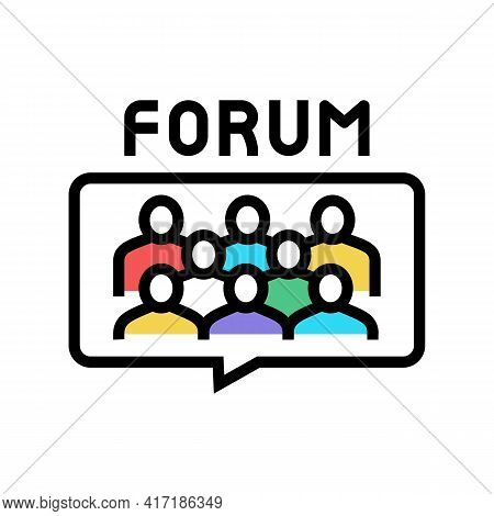 Meeting On Forum Color Icon Vector. Meeting On Forum Sign. Isolated Symbol Illustration