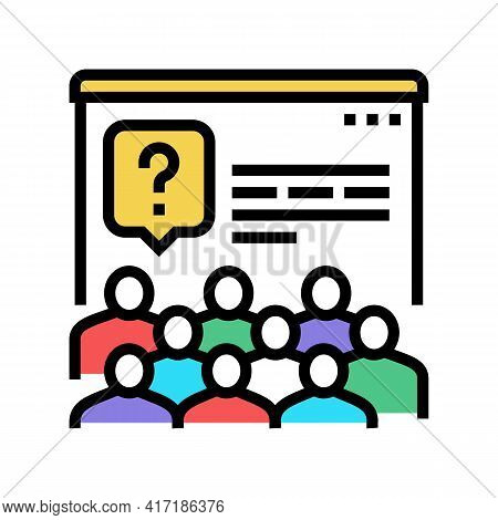 Tasks For Discussion On Forum Color Icon Vector. Tasks For Discussion On Forum Sign. Isolated Symbol