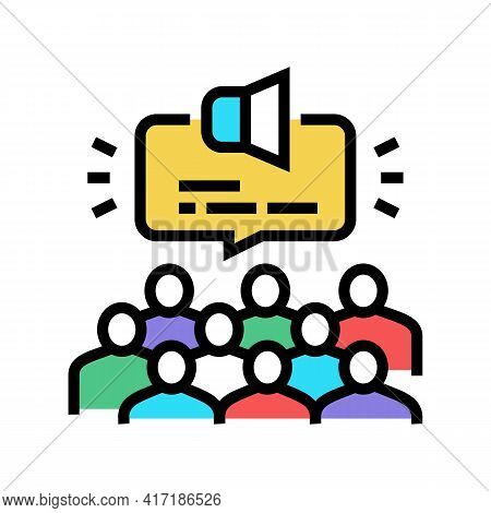 Public Hearing On Forum Color Icon Vector. Public Hearing On Forum Sign. Isolated Symbol Illustratio