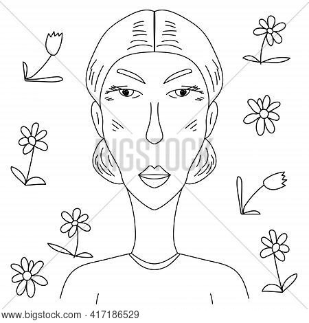 Strict Elderly Woman With Hair Gathered Back, Outline Portrait Of Lady And Doodle Flowers For Postca