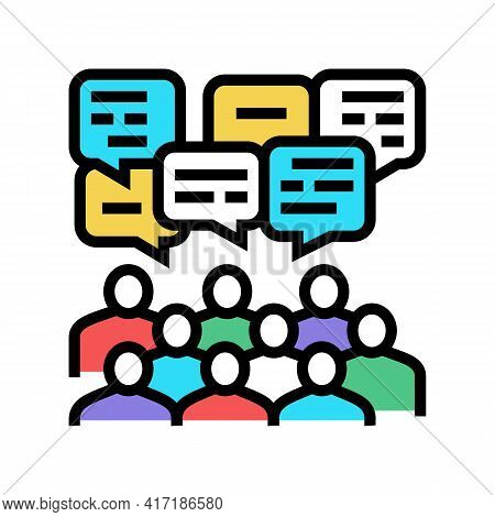 Public Discussion On Forum Color Icon Vector. Public Discussion On Forum Sign. Isolated Symbol Illus