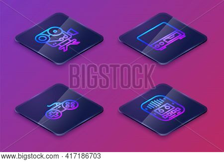 Set Isometric Line Retro Cinema Camera, Gamepad, Old Video Cassette Player And Cassette Tape. Blue S