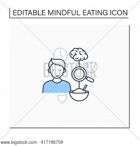 Mindful Eating Line Icon. Tracking Link Between Food And Feelings. Intuitive Eating. Conscious Nutri
