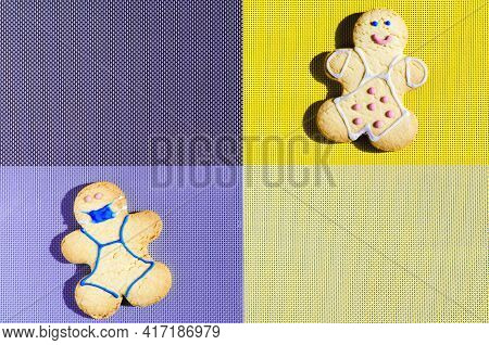 The Concept Of Self Isolation And Covid Restrictions The Figure Of A Man In A Cookie Mask On A Dark