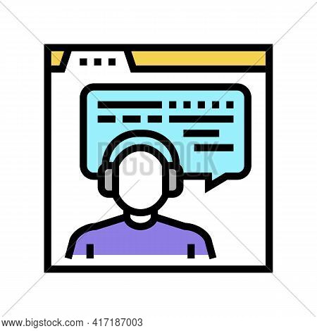 Online Education Teacher Color Icon Vector. Online Education Teacher Sign. Isolated Symbol Illustrat