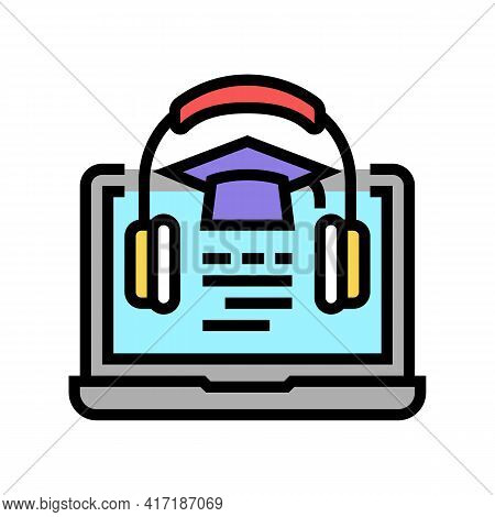 Listening Educational Lesson Of College Color Icon Vector. Listening Educational Lesson Of College S