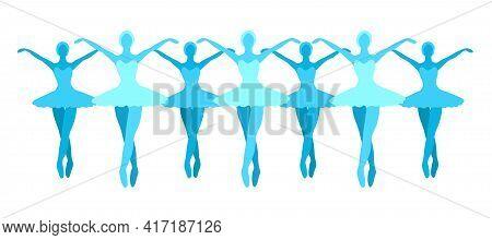 Ballerinas Silhouette Clipart. Blue Ballet Dancer Figures Modern Vector Illustration. Cartoon Isolat